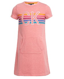 Calvin Klein Big Girls Kangaroo-Pocket Logo Dress