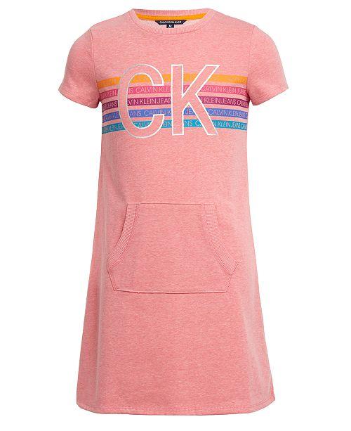 Calvin Klein Big Girls Kangaroo-Pocket Logo Dress