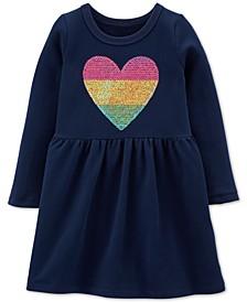 Toddler Girls Sequin-Heart Cotton Dress