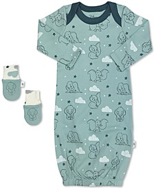 Baby Boys 2-Pc. Organic Cotton Dumbo Sleep Gown & Mitts Set