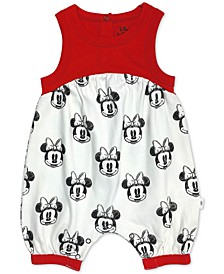 Baby Girls Cotton Colorblocked Minnie Mouse Romper