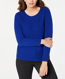 Karen Scott Diamond Cable-Knit Sweater, Created for Macy's