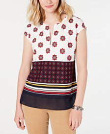 Tommy Hilfiger Mixed-Print Zippered Top, Created for Macy's