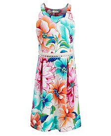 Big Girls Embellished Floral-Print Dress