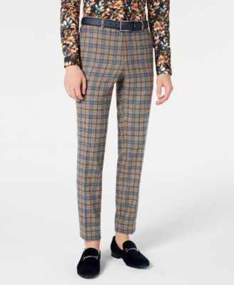 Men's Slim-Fit Plaid Dress Pants Made With Recycled Wool