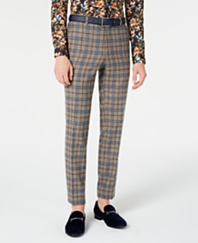 Paisley & Gray Men's Slim-Fit Blue & Gray Plaid Dress Pants