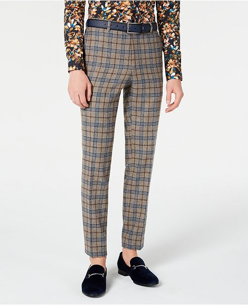 Paisley & Gray Men's Slim-Fit Plaid Dress Pants Made With Recycled Wool