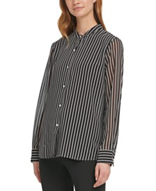 DKNY Striped Mandarin-Collar Blouse