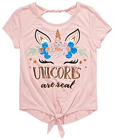 Big Girls Unicorns Are Real Flip Sequin T-Shirt