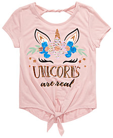 Beautees Big Girls Unicorns Are Real Flip Sequin T-Shirt