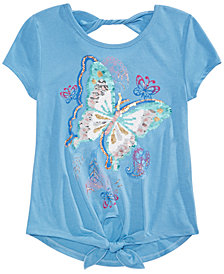 Beautees Big Girls Tie-Front Butterfly Flip Sequin T-Shirt