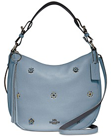 Sutton Leather Hobo With Scattered Rivets