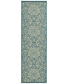 "A Breath of Fresh Air FSR102-17 Blue 2'6"" x 7'10"" Runner Rug"