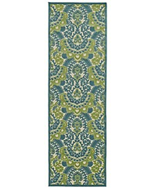 "A Breath of Fresh Air FSR107-17 Blue 2'6"" x 7'10"" Runner Rug"