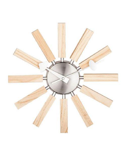 Stilnovo Mid Century Modern Wooden Spokes Wall Clock