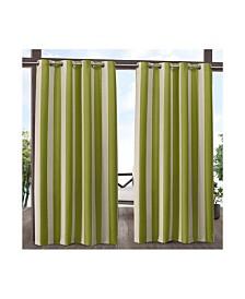 """Exclusive Home Canopy Stripe Indoor/Outdoor Grommet Top 54"""" X 96"""" Curtain Panel Pair"""