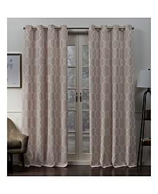 """Exclusive Home Trilogi Geometric Woven Blackout Grommet Top 52"""" X 84"""" Curtain Panel Pair"""