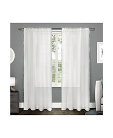 """Exclusive Home Pom Pom Embellished Sheer Rod Pocket Top 54"""" X 108"""" Curtain Panel Pair"""