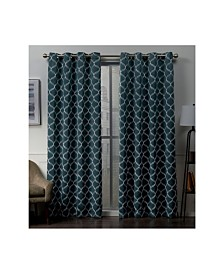 """Exclusive Home Amelia Embroidered Woven Blackout Grommet Top 52"""" X 84"""" Curtain Panel Pair"""