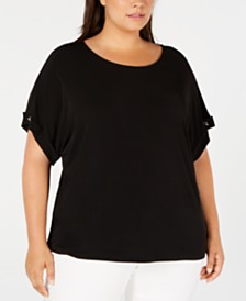 Calvin Klein Plus Size Toggle-Sleeve Top