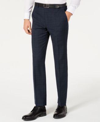 Men's Classic-Fit Airsoft Stretch Teal Plaid Suit Separate Pants