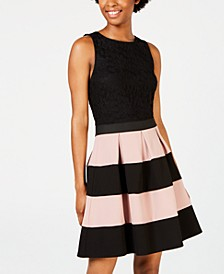 Juniors' Colorblocked-Skirt Fit & Flare Dress, Created for Macy's