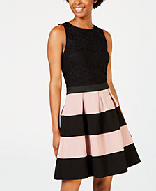 Speechless Juniors' Colorblocked-Skirt Fit & Flare Dress, Created for Macy's