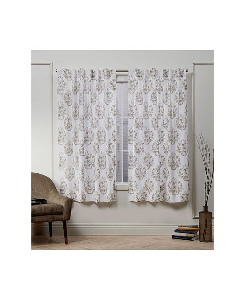 "Exclusive Home Nicole Miller Tabitha Damask Print Cotton Hidden Tab Top 50"" X 63"" Curtain Panel Pair"
