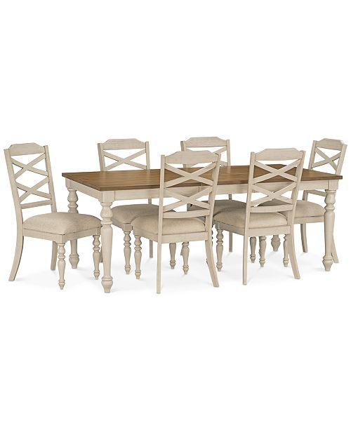 Miraculous Larson Light Dining Furniture 7 Pc Set Expandable Table 6 Side Chairs Customarchery Wood Chair Design Ideas Customarcherynet