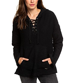 Juniors' Cotton Lace-Up Hooded Poncho