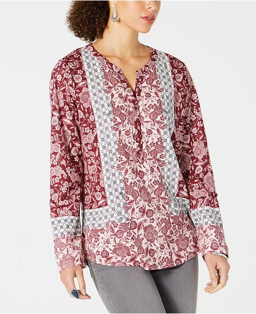 Style & Co Petite Mixed-Print Shirt, Created for Macy's