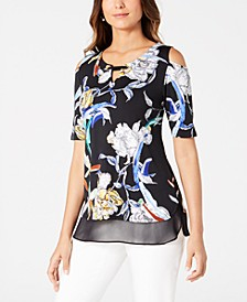 Petite Cold-Shoulder Chiffon-Hem Top, Created for Macy's