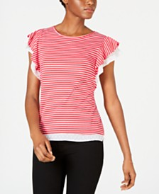 Maison Jules Striped Contrast Flutter-Sleeve Top, Created for Macy's