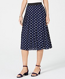 Dotted Pleated Midi Skirt, Created for Macy's