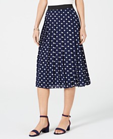 Charter Club Dotted Pleated Midi Skirt, Created for Macy's