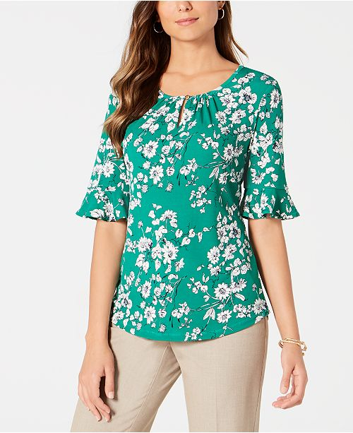 Charter Club Ruffled-Sleeve Top, Created for Macy's