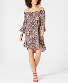 Style & Co Printed Off-The-Shoulder Shift Dress, Created for Macy's