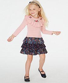 Blueberi Boulevard Toddler Girls Embroidered Ruffled Dress