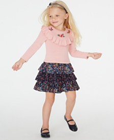 Blueberi Boulevard Little Girls Embroidered Ruffled Dress