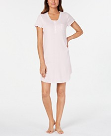 Knit Lace-Trim Striped Nightgown