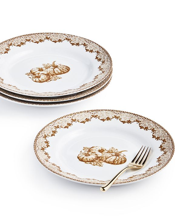 Martha Stewart Collection Harvest Salad Plates, Set of 4, Created for Macy's