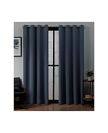"Exclusive Home Sateen Twill Woven Blackout Grommet Top 52"" X 108"" Curtain Panel Pair"