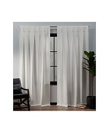 """Exclusive Home Ghent Metro Suede Inverted Pleat Button Top 32"""" X 96"""" Curtain Panel Pair"""