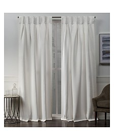 """Exclusive Home Sateen Woven Blackout Button Top Window 32"""" X 96"""" Curtain Panel Pair"""