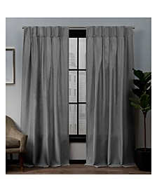 """Loha Linen Button Top Window Curtain Panel Pair, 32"""" x 84"""""""