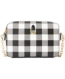 Saffiano Leather Gingham Crossbody Bag