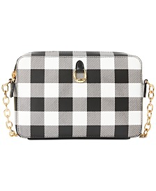 Lauren Ralph Lauren Saffiano Leather Gingham Crossbody Bag