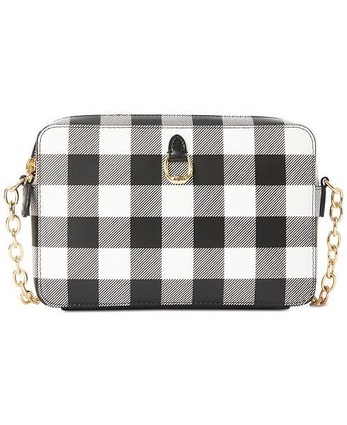 Lauren Ralph Lauren Saffiano Leather Gingham Crossbody Bag