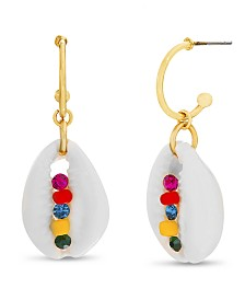 Steve Madden Women's Multi Colored Seashell Charm Earrings