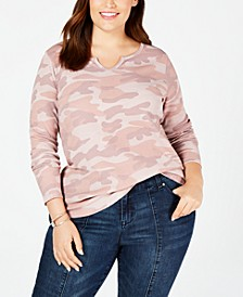 Plus Size Printed Thermal Top, Created for Macy's